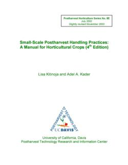 Small-Scale Postharvest Handling